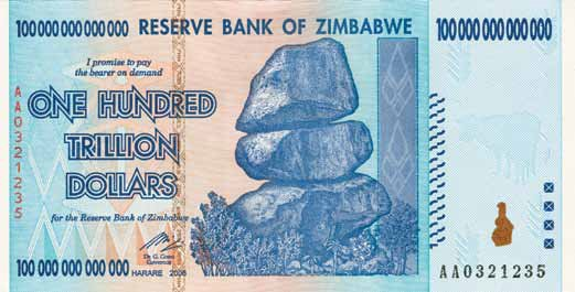 100 trillion Zimbabwe dollar note