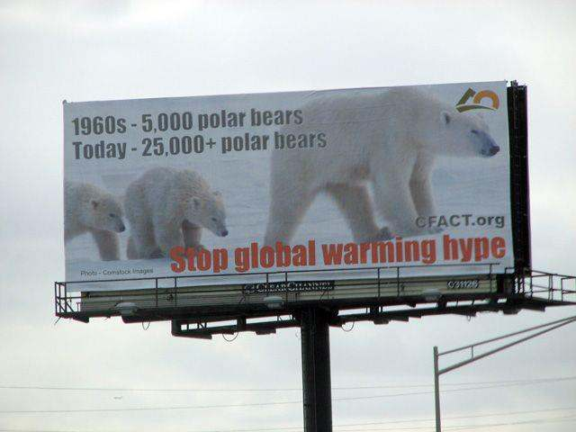Billboard: Stop global warming hype