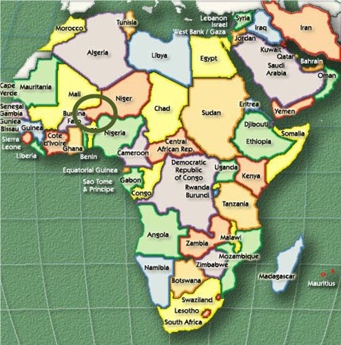 Map of Africa showing Quint-Border region