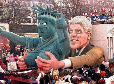 Bill Clinton groping an angry Statue of Liberty