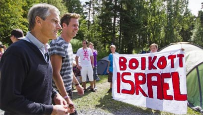 Boycott Israel sign at Utøya youth camp