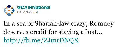 Twitter screen shot: 'In a sea of Shariah-law crazy, Romney deserves credit for staying afloat'