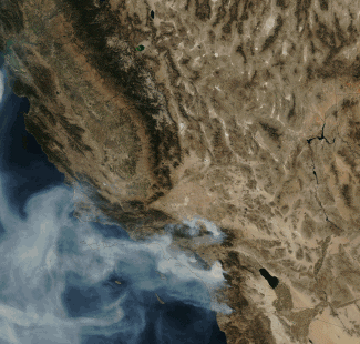 Thumbnail satellite view of California wildfires 10/24/07