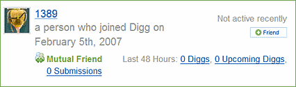 Blocked Digg user 1389, appearing in someone else's profile