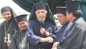 Some of the Guatemalan clergy, from left to right: Fr. Mihail, Fr. Evangelos, Fr. Andrés Girón, Fr. José, and Fr. Danil