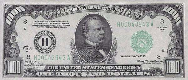 Grover Cleveland $1000 bill