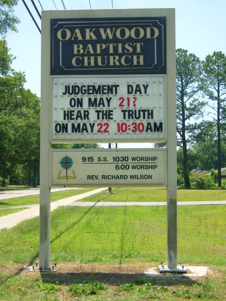 'Judgement Day on May 21?? Hear the Truth on May 22' Church Sign