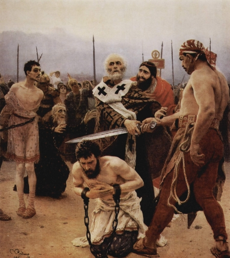 Saint Nicholas of Myra Saves Three Innocents from Execution - Painting by Ilya Repin (click for larger image)
