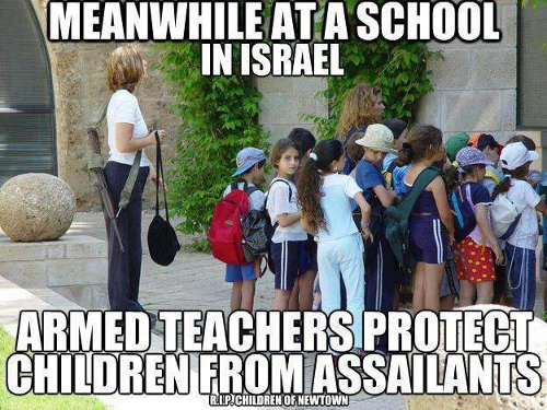 Meanwhile, at a school in Israel, armed teachers protect students from assailants
