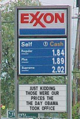 Exxon station sign: Just kidding - those were our prices the day Obama took office