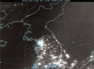 Korean Peninsula at Night - Older Image