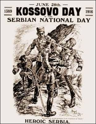 WWI poster  - Kossovo Day - solidarity with our Serb allies June 28, 1916