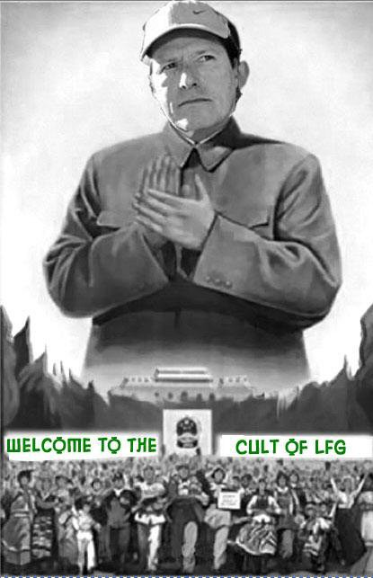 Satirical poster of Charles Johnson as cult leader at Little Green Footballs