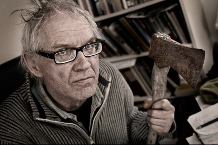 Lars Vilks with axe