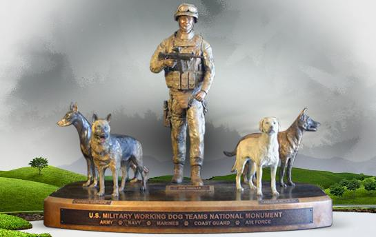 Artist's model of US War Dogs monument