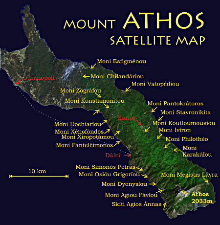 Satellite map of Mount Athos - click for larger image