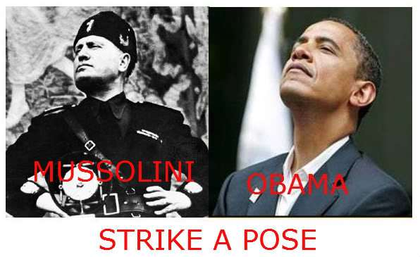 Mussolini and Obama strike a pose