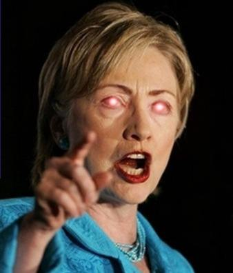 Hillary Clinton with demonic eyes