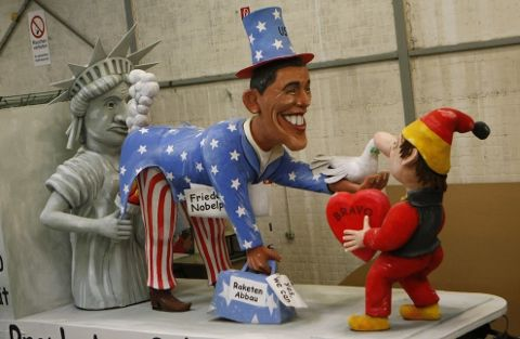Obama Nobel Peace Prize float in 2010 Cologne Carnival parade