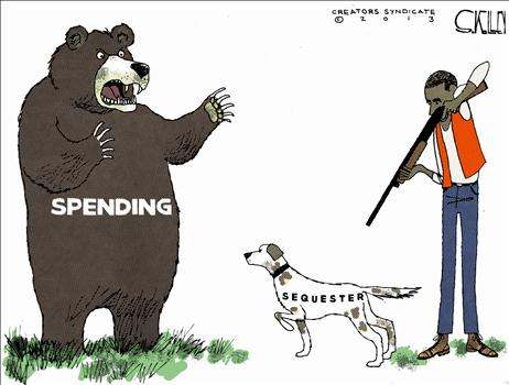 Obama aiming gun at his own hunting dog, labeled 'SEQUESTER', who is pointing at a huge bear labeled 'SPENDING'