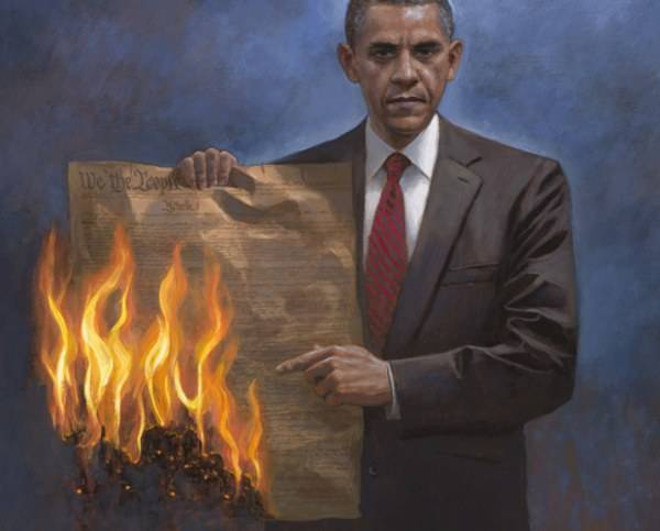Obama burning the US Constitution