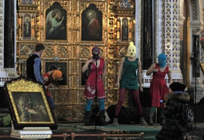 Pussy Riot desecrating Christ the Saviour Cathedral in Moscow