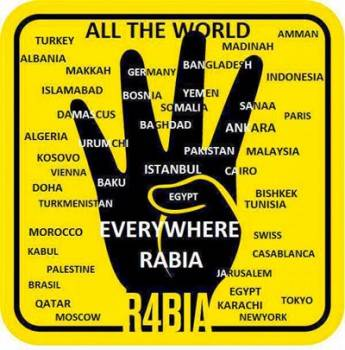R4BIA, the Muslim Brotherhood gang sign