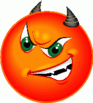Angry red devil smiley