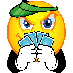 Large smiley with green eyeshade, playing cards