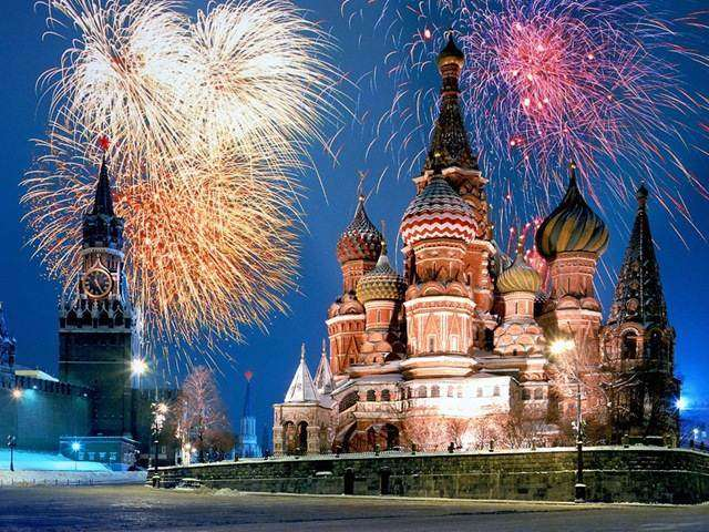 Fireworks above St. Basil on New Year's Eve 2013