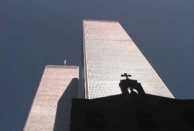 St. Nicholas Greek Orthodox Church silhouetted against the Twin Towers