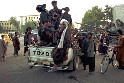 Taliban forces in Toyota Hilux truck