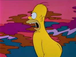 Homer Simpson naked and terrified in Treehouse of Horror III