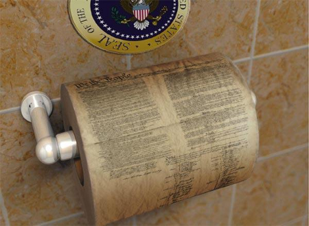 US Constitution printed on toilet paper