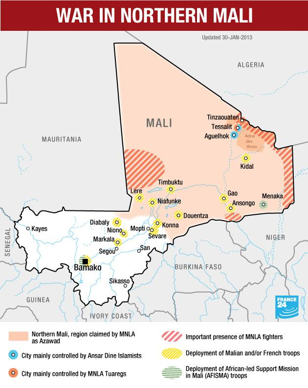 Map: War in Northern Mali, Jan. 30, 2013