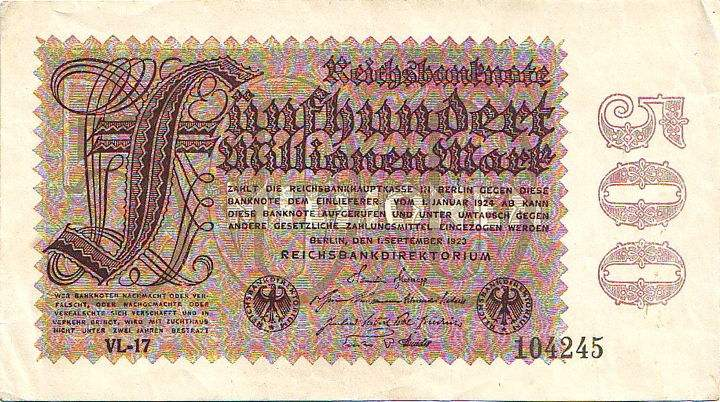 Weimar Republic 500 million Reichsmark bill
