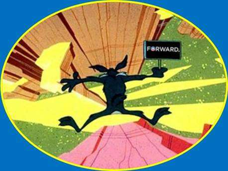Wile E. Coyote falling off a cliff, holding an Obama Forward sign