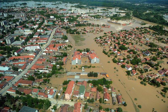 Aerial view of flooding in Obrenovac, Serbia