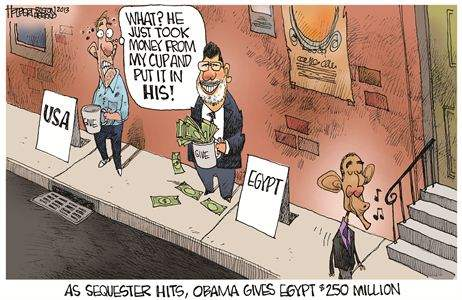 As sequester hits, Obama gives Egypt 250m USD