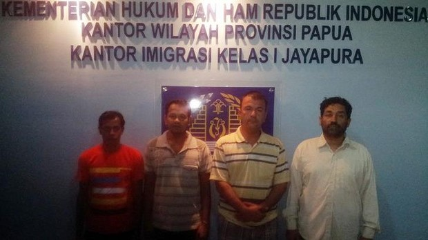 The asylum seekers in detention in Jayapura: (From left) Mohammad Saiful Islam Tanu and Mohammad Shohidul Islam and, both from Bangladesh; and Ahmad Fahim Naziri and Mahmood, both from Afghanistan.