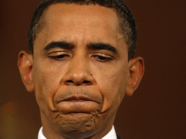 Barack Obama grimacing