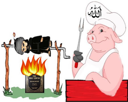 Muhammad being barbecued over a flaming Qur'an by a pig