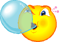 Smiley blowing bubblegum bubble