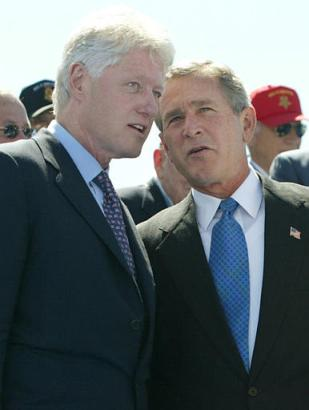 George W. Bush with Bill Clinton 5/29/04