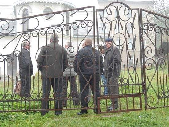 Locked church gates in Turka