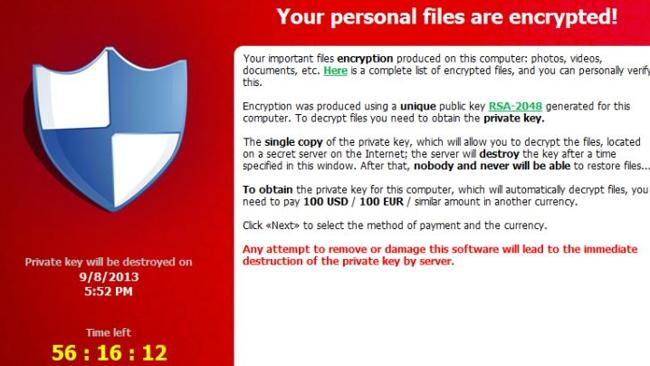 CryptoLocker ransomware screen shot