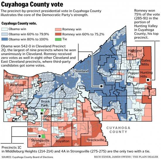 Cuyahoga County OH precinct map, 2012 election
