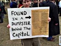 Protest sign: Constitution found in a Dumpster behind the Capitol