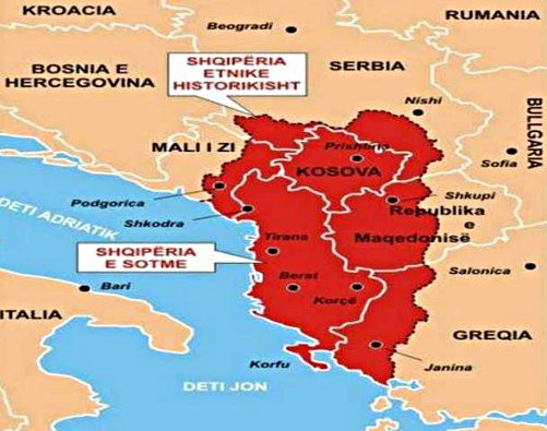 Map of 'Greater Albania'