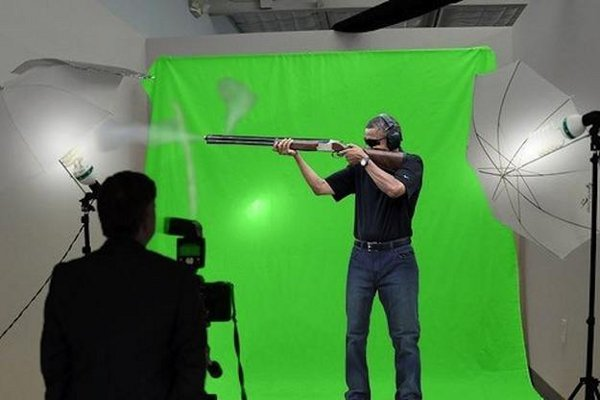 Obama fake skeet shot in front of a green screen